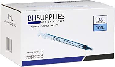 1ml Syringe Sterile with Luer Slip Tip - 100 Syringes by BH Supplies (No Needle) Individually Sealed