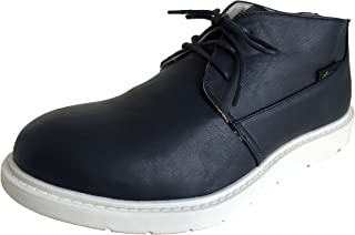 [アマート] メンズ レースアップ ショート ブーツ レイン 雨靴 防水 カジュアル アウトドア タウン 3色 AMT-1201 (LL(27.0 cm), ネイビー)