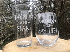 My Sun And Stars Moon of My Life His Her SET 2 Beer Stemless Wine Pint Glass Couples Wedding Anniversary Gift Love Engraved Game of Thrones Inspired Dothraki Daenerys Drogo GOT
