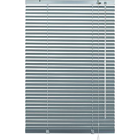 Deco Company - Persiana de aluminio, protección visual, de luz y antideslumbramiento, montaje en pared y techo, aluminio, plateado/azul, 70 x 130 cm