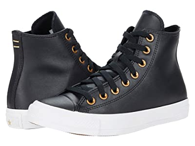 Converse Chuck Taylor All Star Hi Leather (Black/Gold/White) Women