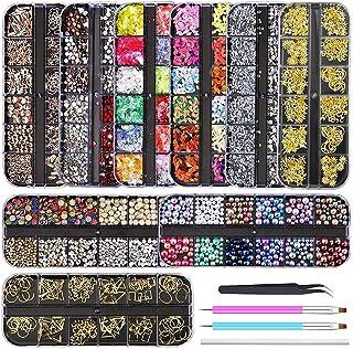 Artdone 9 boxes Nail Rhinestones,Nail Gems Nail Diamonds,Nail Art Studs Nail Crystals Nail Sequins for Nails Kit with 1 Tw...