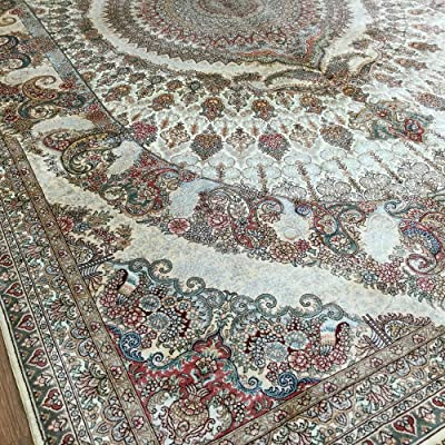 Yuchen New 6x9 Beige Pictorial Handmade Silk Persian Rugs Hand Knotted Carpets 230L