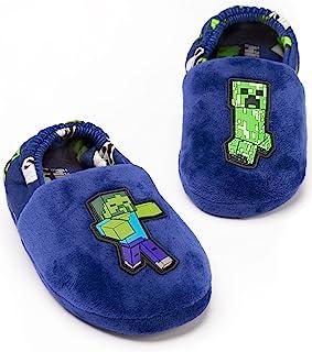 کفش های ورزشی Minecraft Slip Boys Kids Blue Creeper vs Zombie House Shoes