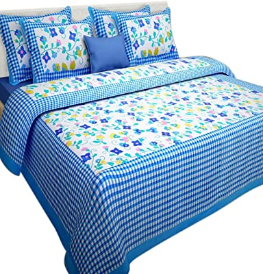 RHF 100% Cotton Double Bed Sheet/Bed Cover Printed by for Royal Home Sky Blue(1 Double Bed Sheets with 2 Pillow Cover)