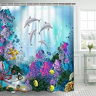 Ikfashoni Sea World Shower Curtain, Dolphin Shower Curtains with 12 Hooks, Ocean Coral Shower Curtain Sea Life, Waterproof Fabric Bath Shower Curtains for Bathroom, 69 x 74 Inches
