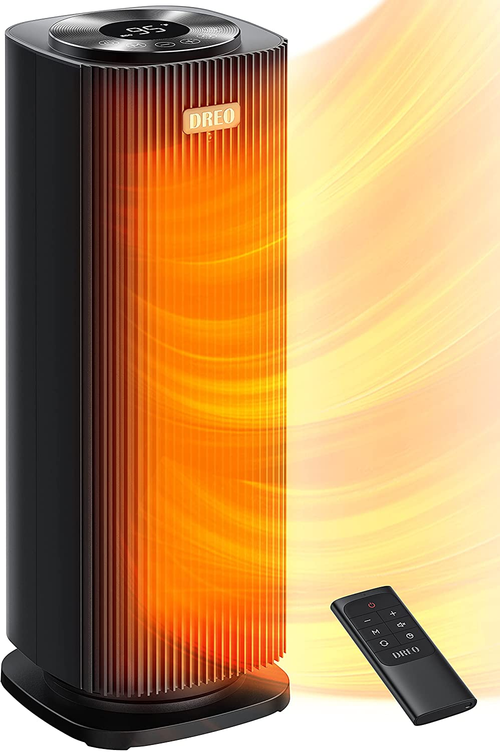 Dreo Space Heaters for Indoor Use, Quiet&Fast Portable Heater with Tip-Over and Overheat Protection, Remote, Oscillating,12H Timer, LED Display with Touch Control, Electric Heater for Office Use