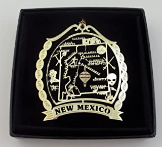New Mexico State Brass Ornament Black Leatherette Gift Box