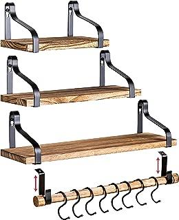 Clarke`s Decor - Floating Shelves - Wall Shelves - Set of 3 - Hanging Wood Shelves for Bedroom Bathroom or Kitchen - Wall Shelf with Hooks - Small Home Rustic Bookshelf - Long Mounted Rod