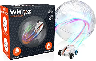 USA Toyz Whipz Micro Racers Toy Cars for Kids - Mini LED Car, High Speed Pocket Racer, Glow in The Dark Car Spinner, Keychain Car with Stunt Ball