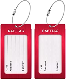 Luggage Tags, LLFSD Metal Suitcase Tags Travel Bag ID Identifier Luggage Tag (Red 2-Pack)