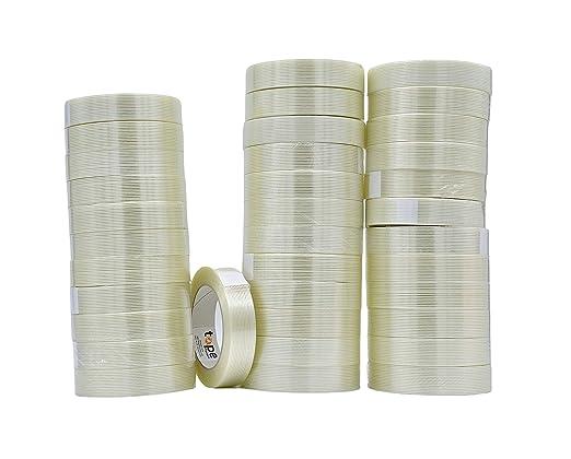 Fiberglass Reinforced Strapping Tape BOMEI PACK 6.7mil x 2inch x 55yds 4Rolls Bi Directional Filament Tape
