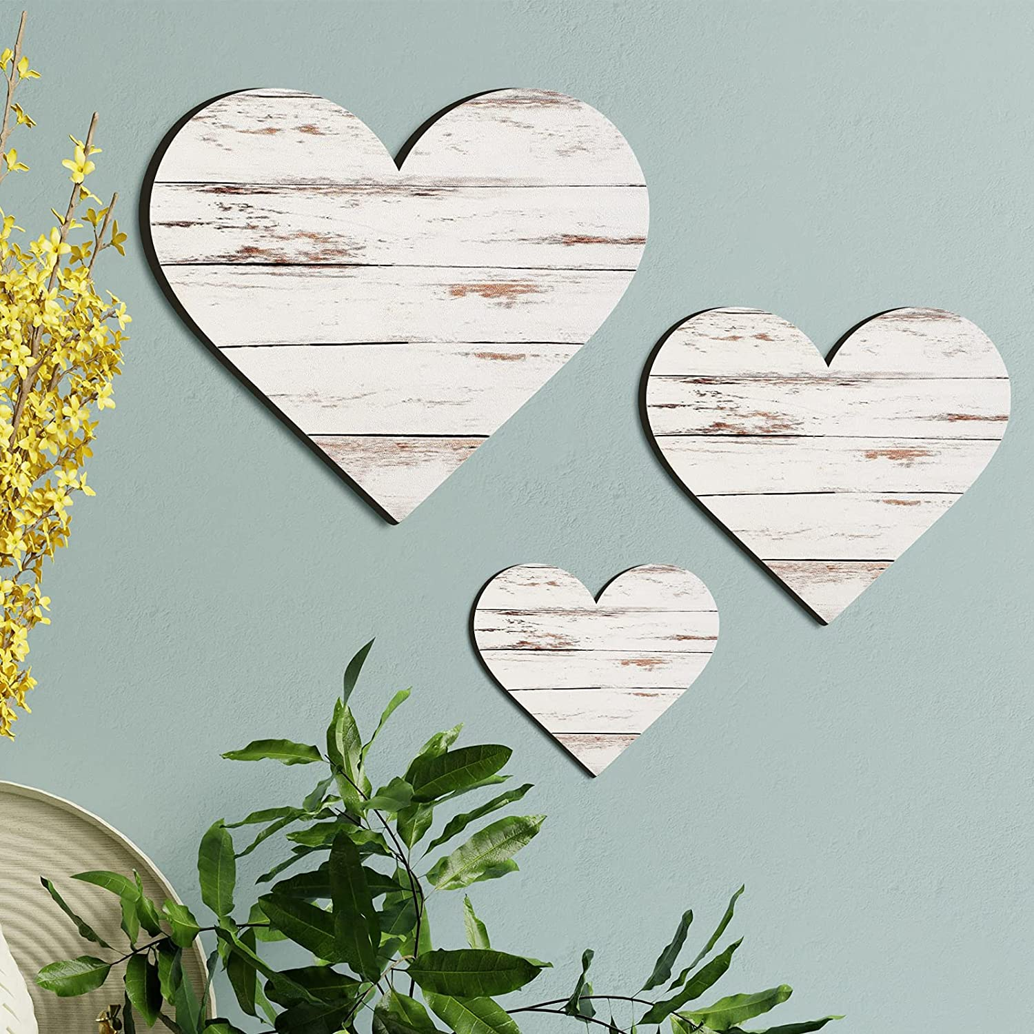 Jetec 3 Pieces Heart Shaped Wood Sign Heart-Shaped Wooden Wall Sign Wood Heart Wall Decor Rustic Hanging Sign Wooden Heart Plaque for Home Farmhouse Living Room Bedroom (Simple Color)