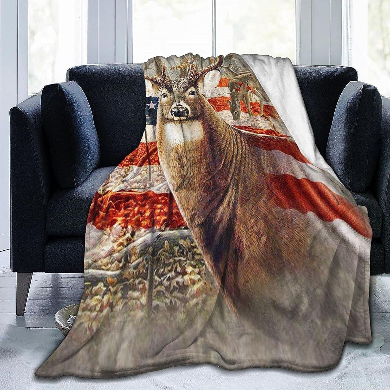 XONRSE Flag Deer Flannel Fleece Lightweight Super S Soft Sale SALE% OFF Blanket Genuine