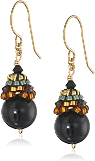 Miguel Ases Onyx and 14k Gold Filled Ball Drop Earrings