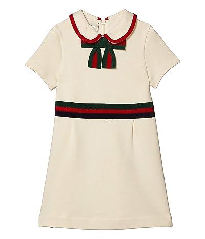 Gucci Kids Cotton Jersey Bow Dress (Little Kids/Big Kids) (White/Sham/Bred) Girl