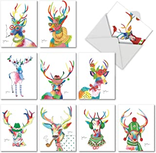 Fancy Reindeer - 10 Assorted Merry Christmas Cards with Envelopes (4 x 5.12 Inch) - Watercolor Painted Deer, Colorful Animal Happy Holiday Cards for Kids - Beautiful Boxed Greetings AM6751XSG-B1x10