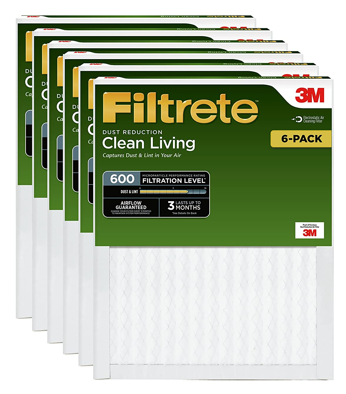 Filtrete 16x25x1, AC Furnace Air Filter, MPR 600, Clean Living Dust Reduction, 6-Pack