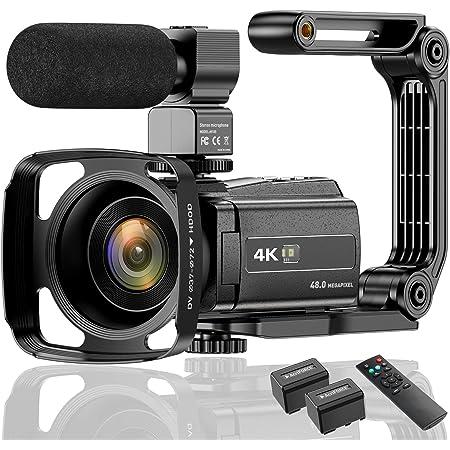 ビデオカメラ ACTITOP デジタルビデオカメラ 4K フルHD 48MP WIFI機能 16倍デジタルズーム 赤外線夜視機能 3.0インチタッチモニター 外部マイク 超広角レンズ搭載 ビデオライト カメラバッグ 日本語システム (254K)