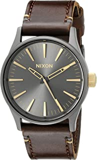 Nixon Sentry 38 Leather A377595-00. Gunmetal and Gold Men's Watch (38mm. Gunmetal/Gold Watch Face. 21mm Leather Band)