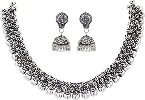 Sasitrends Oxidized German Silver Necklace with Earrings Jewellery Set for Women and Girls