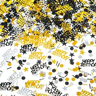 EMAAN Happy Birthday Metallic Foil Confetti Black Gold and Silver Multicolored Sequins, Decorative Table, Light Up Your Birthday Party (Black, Shiny Gold, Silver)