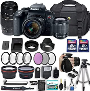 Canon EOS Rebel T7i 24.2 MP DSLR Camera with Canon EF-S 18-55mm f/4-5.6 is STM Lens + Tamron 70-300mm f/4-5.6 Di LD Lens + 2 Memory Cards + 2 Aux Lenses + 50