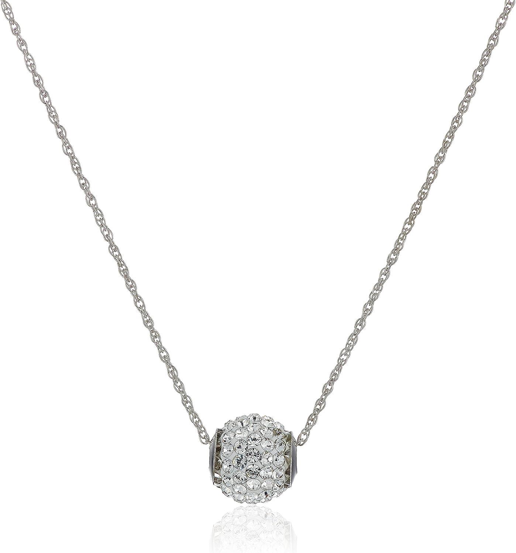 10k Swarovski Crystal Slide Ball Pendant Necklace, 18