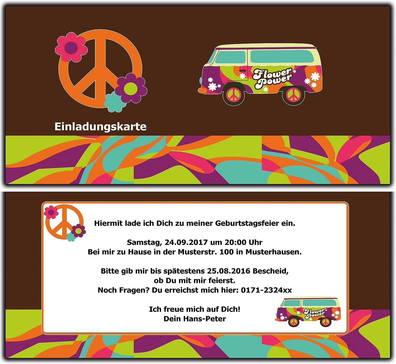 Personalisierte Einladungen für Männer und Frauen Erwachsene mit Ihren Daten und Texten Einladungskarten Retro Hippie Geburtstag Geburtstagseinladung Flower Power 90 Stück B01B1YH0OM   Shop
