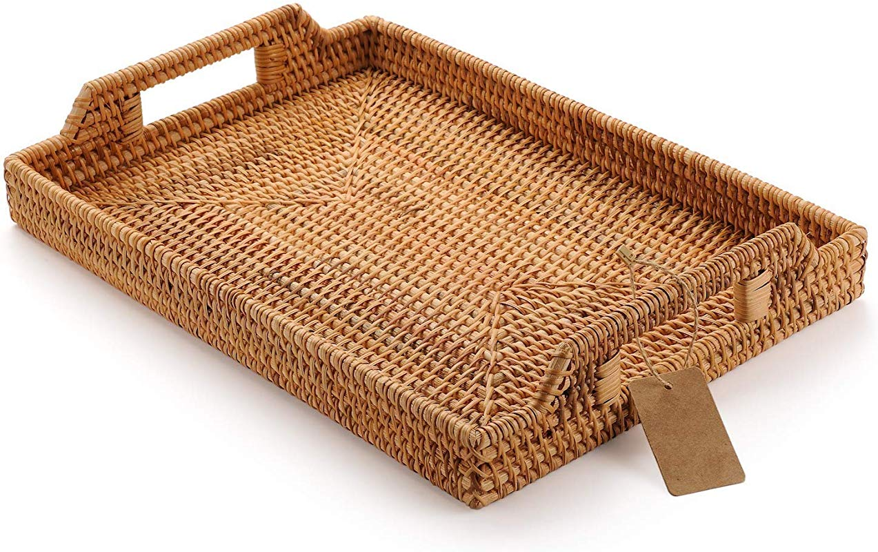 Hand Woven Rattan Rectangular Serving Tray With Handles For Breakfast Drinks Snack For Dining Coffee Table 14 5 Inch 37cm