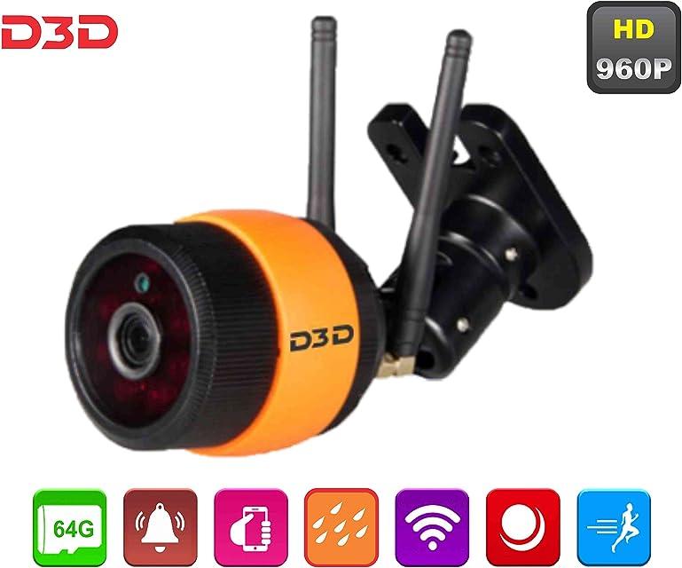 D3D - Cámara de seguridad inalámbrica 960P HD para exteriores (compatible con tarjetas Micro SD de hasta 64 GB)