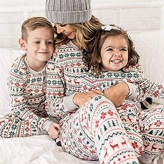 Auagvien Pijamas De Mujer Navidad, Pijama Parejas, Pijamas De Navidad Familiar, Navidad Familia A Juego Pijamas Blancos Adultos Bebé Familia Pijamas Deer Romper Familia (Size : Mom M)