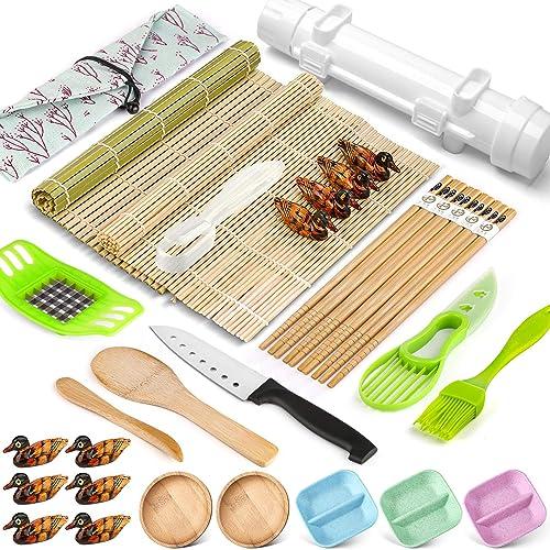 wholesale Sushi Making Kit, 28 Pcs Sushi Bazooka Maker with Bamboo Rolling 2021 Mat, Chopsticks, Paddle, Spreader, Sushi Knife for Sushi outlet sale Lovers Beginners, DIY Sushi Roller Machine online