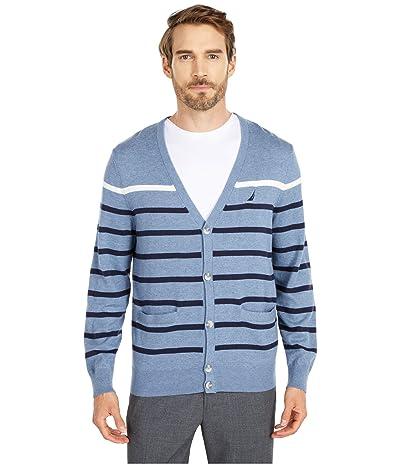 Nautica Striped Cardigan Sweater (Blue) Men