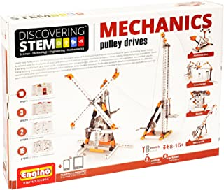 Engino Discovering STEM Mechanics Pulley Drives   8 Working Models   Illustrated Instruction Manual   Theory & Facts   Experimental Activities   STEM Construction Kit