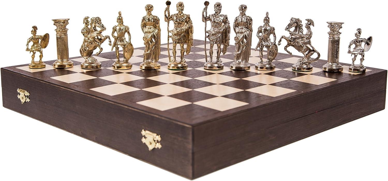 Schach Schachspiel - ROMAN LUX - Schachfiguren aus Metall - Schachbrett aus Holz B01N33ST52  Modernes Design     | Langfristiger Ruf