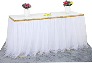 6 ft White Table Skirt With Gold Sequin Tulle Table Skirt for Bridal Shower Wedding Baby Shower Birthday Party