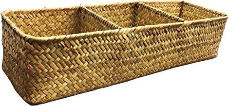 LA Rectangular Woven Seagrass Storage Basket and Home Organizer Bins,Natural Water Hyacinth Basket (Brown)