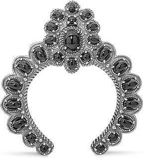 American West Sterling Silver Black Agate Gemstone Naja Pendant Enhancer