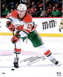 """Nico Hischier New Jersey Devils Autographed 16"""" x 20"""" White Alternate Jersey Skating Photograph - Autographed NHL Photos"""