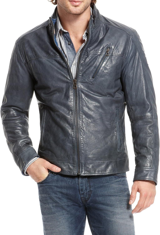 ALISHBAH Men's Leather Detroit Mall Jacket Lambskin Genuine Stylish Motorcycl excellence