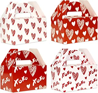 Valentine Boxes for Treats, 24-Pack Valentines Day Treat Boxes, 4 Doodle Designs, Paper Valentine's Day Favor Boxes, 6 x 3...