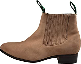 Men's Botin Charro Nobuck Leather Ankle Boots Pull On Brown(Topo) Color