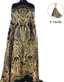 NJHG 5 Yards Lace Fabric Gorgeous Embroidery Fabric Decorated by Qualified Shiny Sequins/Spangles for Wedding/Party Dress