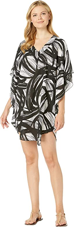 Printed Tidal Wind Chiffon Caftan Cover-Up