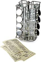 """RSVP International RSR-16 Revolving Chrome Rack Set, Includes 16 Spice Jars   9"""" x 11.5""""   Keeps Salts, Peppers, Cumin, Garlic, Cinnamon, Herbs Fresh   Comes w/Labels, One Size, Multi Color"""
