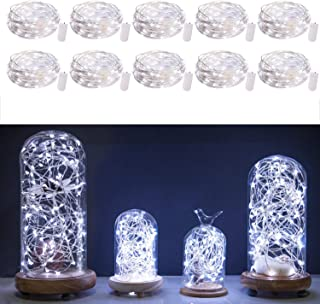 10 Pack Fairy Lights 7 Feet 20 LED Firefly Lights Battery Powered String Lights Silver Coated Copper Wire Starry Moon Lights for DIY Wedding Bedroom Indoor Party Christmas Decorations White