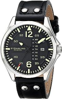 Stuhrling Original Aviator 699 Men's Black Dial Leather Band Watch - 699.01