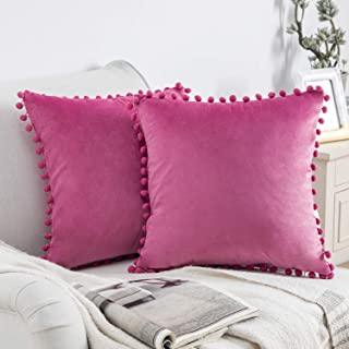 Phantoscope Pack of 2 Pom Poms Velvet Decorative Throw Pillow Covers Soft Solid Square Cushion Case Pillow Decor, Pink, 18...
