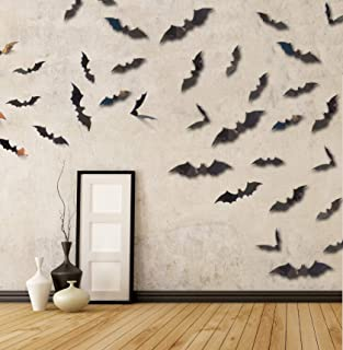 MDCreative Halloween Decorations 3D Scary Bats Wall Stickers Window Decor Art Wall Decals for Halloween Eve Party, 60 Pack